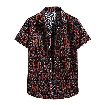 Mens Beach Blouse Short Sleeve Shirts Summer Cotton Linen Button-Down Blouse Tops Casual T Shirts Tees Tops  Orange XL