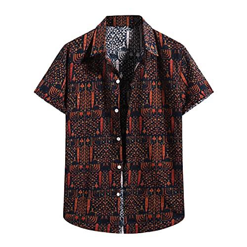 Camisa hawaiana para hombre con estampado de flores, vacaciones, para el tiempo libre, informal, para la playa, de manga corta, cuello en V D_Orange XXL