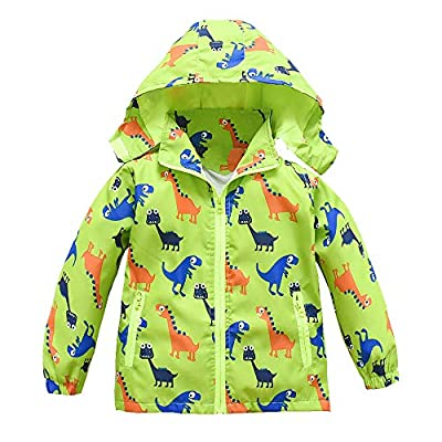 Toddler Boys Girls Jacket Hooded Trench Dinosaur Lightweight Kids Coats Windbreaker Outdoor (Green,4T)