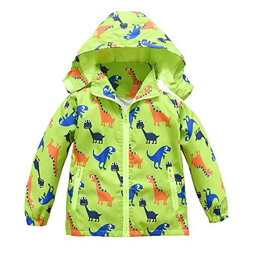 Toddler Boys Girls Jacket Hooded Trench Dinosaur Lightweight Kids Coats Windbreaker Outdoor (Green,3T)