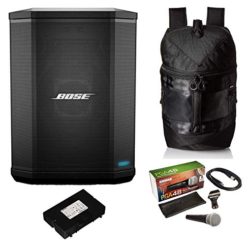 Bose S1 Pro Bluetooth Speaker System Bundle with Battery, Bose S1 Pro Backpack, Shure PGA48 Microphone, 15ft XLR Audio Cable (7 Items)