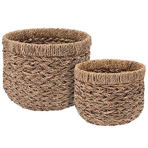 Decorasian Korb Aufbewahrung rund geflochten nachhaltig aus Seegras - 2er Set klein