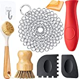 8 Pieces Cast Iron Cleaner Set Include Stainless Steel Chainmail Scrubber with Bamboo Long Handle...