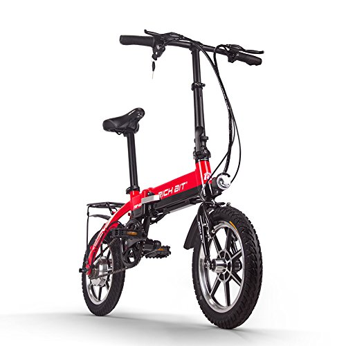 RICH BIT Bicicleta eléctrica 250W 36V * 10.2Ah Bicicleta Plegable de 14 Pulgadas 17kg RT618 Bicicleta eléctrica Inteligente (Red)