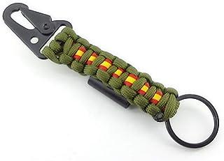 LLAVERO de supervivencia ESPAÑA, de paracord 550 con mosquetón y abrebotellas, color VERDE ARMY