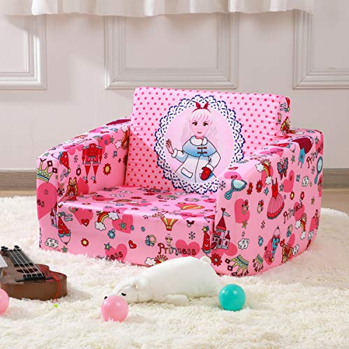 Kid Sofa Chair, Children 2 in 1 Flip Open Foam Sofa Bed for Kid Nap and Play...