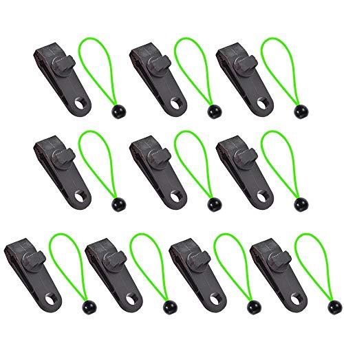 Bayda - 10 pinzas para tienda de campaña con cuerda atada, pinza de bloqueo, pinzas para lonas de jardín, camping al aire libre