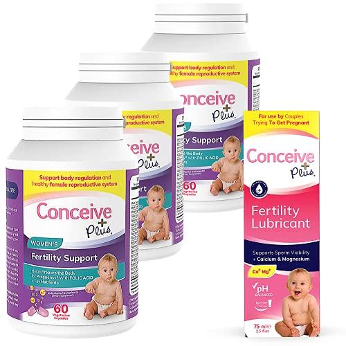 CONCEIVE PLUS Women's 3 Month Supply   Prenatal Vitamins + Fertility-Friendly Lube   Conception Fertility Support Supplement (3 x 60 Capsules + 2.5 Ounce Fertility Lubricant)