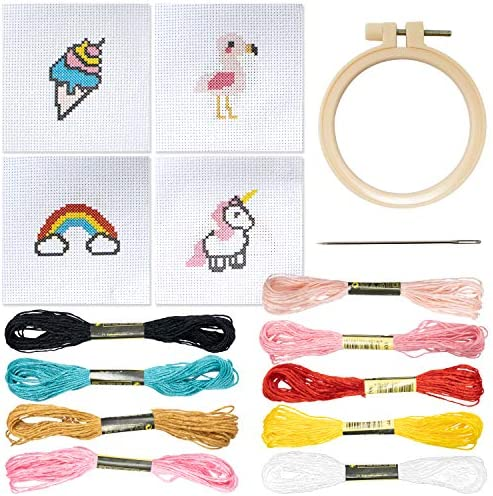 Cross Stitch Kits Beginner Set 3 Inch 4 Pack Cute Embroidery Starter Kit with Rainbow Ice Cream product image