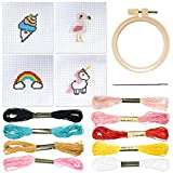 Cross Stitch Kits Beginner Set [3 Inch, 4 Pack] Cute Embroidery Starter Kit with Rainbow, Ice Cream, Unicorn & Flamingo. Needlepoint for Adults Includes Instructions, Thread, Needle, Hoop and Cloth