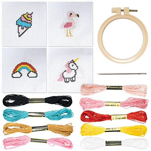 Cross Stitch Kits Beginner Set [3 Inch, 4 Pack] Cute Embroidery Starter Kit with...