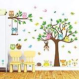 decalmile Pegatinas de Pared Árbol Búho Vinilos Decorativos Mono Flores Adhesivos Pared para Habitacion Bebés Guardería Dormitorio