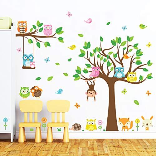 decalmile Wandtattoo Eule auf Großem Baum Wandsticker Affen Vögel Blumen Wandaufkleber Babyzimmer Kinderzimmer Schlafzimmer Wanddeko