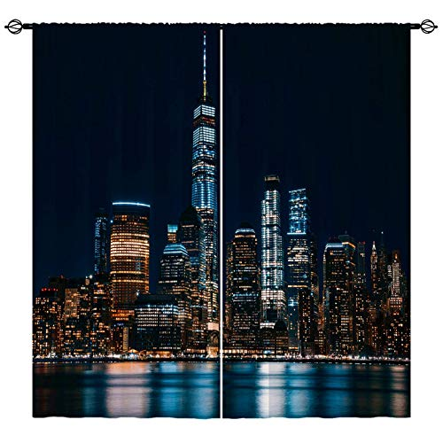 ANHOPE City Curtains Modern Theme Window Drapes with New York Night City Buildings Print Pattern Rod Pocket Home Decor Curtains for Bedroom Living Room Kitchen Office Cafe, 2 Panels, 42 x 63 Inch
