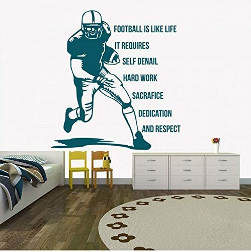 American Football Ist Wie Das Leben Aufkleber Zitat Junge Zimmer Vinyl Sport Wandtattoo Wohnzimmer Abnehmbar 60X56Cm