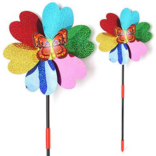 ECMQS Schmetterling Pailletten Kinder Windmühle Spielzeug, Garten Dekoration Ornament Bunte Outdoor Spinner