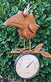 Thermometer Gartenstecker Rabe Vogel Metall Gartendeko Beetstecker oder Wetterstation für Innen und Außen Edelrost Rost