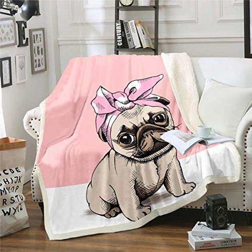 Loussiesd Manta de felpa para sofá, cama, mascota, perro, sherpa, hippie, cachorro, animal 3D, decoración de dormitorio individual de 50 x 60 pulgadas
