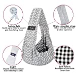CUBY Reversible Pet Sling Carrier Hands-free Sling Pet Dog Cat Carrier Bag Soft Comfortable Puppy Kitty Rabbit Double-sided Pouch Shoulder Carry Tote Handbag (gray) 14
