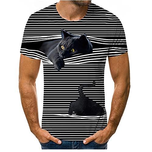 Casuales Camisas Hombre Verano Básico Holgado Cuello Redondo Hombre Shirt Moderno Interesante 3D Gato Estampado Hombre Manga Corta Luz Cómodo Hombre Camiseta T24419 3XL