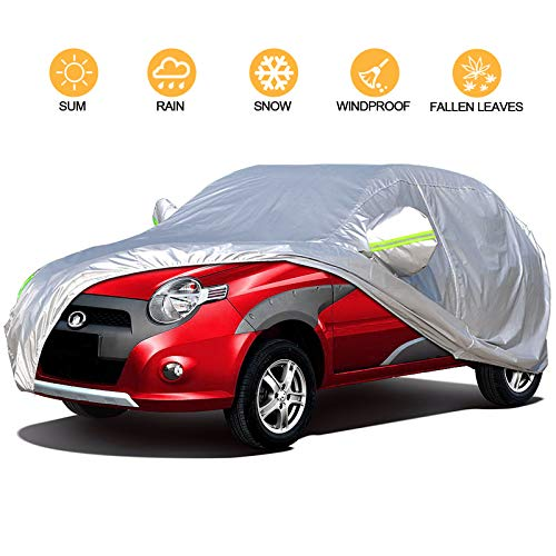4 Layers Outdoor SUV Car Cover Universal Full Car Covers for Automobiles All Weather Waterproof UV Protection Windproof Rain Dust Scratch Snow Car Cover Fit SUV Large (Fit SUV(190''-201''))
