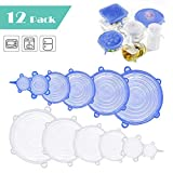Silicone Stretch Lids, Augola 12Pcs Stretchy Food Lids Reusable Food Wrap, BPA-Free Food Covers Expandable to Fit Various Shape of Containers, Dishes, Bowls, Safe in Dishwasher, Microwave and Freezer