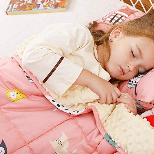 BUZIO Beschwerte Decke 1,3 kg für Kinder, ultra gemütlich Minky gepunktet und Baumwolle Seite mit Cartoon-Mustern, schwere Decke ideal zum Beruhigen und Schlafen, 90 x 120 cm, rosa Katze
