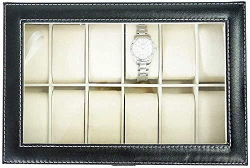 gengxinxin Caja de Reloj con Pantalla de Cuero con Tapa de Vidrio, joyero, Regalo para Hombres, 12 Negro