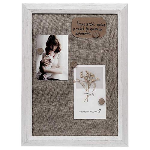 Space Art Deco, Shadow Box Display Frame, Wool/Fabric Memo Board Frame, Photo Collage Board, Keep Baby Wedding Photos Pictures Frame, Home Wall Decor (Distressed White Colcor)