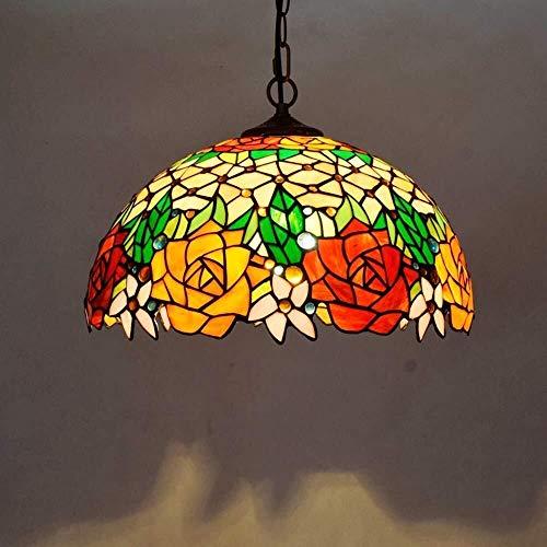 QIURUIXIANG-lámpara de techo, lámpara de techo clásica estilo Tiffany, pantalla de cristal manchado bellamente decorado para cocina, sala de estar, dormitorio sótano loft cafetería (40 cm) QI-305