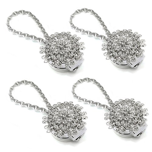 Sumnacon 4 Packs Crystal Curtain Magnetic Tieback Flower Curtain Clips Buckle with Stretchy Wire Rope for Home Office Decoration (4 Pcs Silver Peacock)