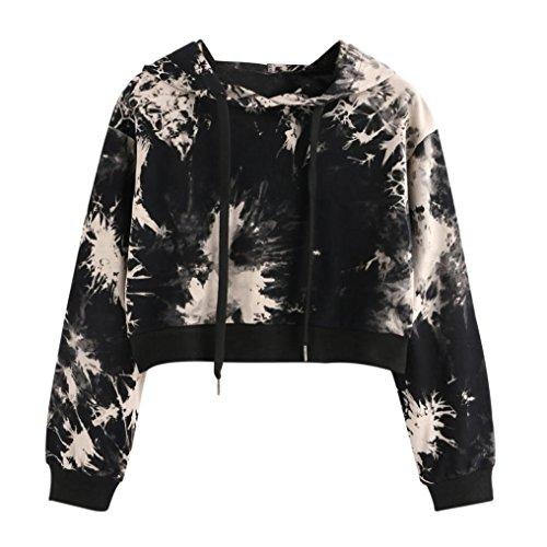 Amlaiworld Sweatshirts Herbst Frauen bunt Kapuzenpulli Damen warm Sweatshirt Sport Bluse Mode Pullover kurz bauchfrei Tops (S, Schwarz)