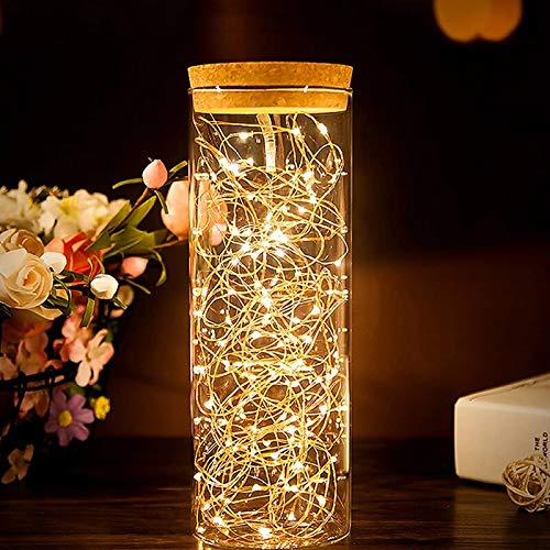 Cadena de luz LED alambre de cobre cuento de hadas blanco cálido hogar fiesta de Navidad USB cadena de luz decorativa A1 10m100 leds batería