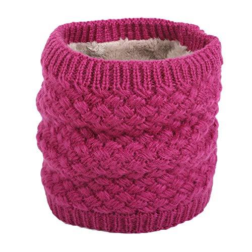 Scalda Collo Di Crochet Di Maglia Di Lana Per Invernali Con Agnello Dentro Sciarpe Morbido e Caldo Unisex Per Donne E Uomo (Fucsia)