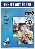 PPD Inkjet - A3 (297 x 420 mm) x 10 Hojas de Papel Fotográfico de Lienzo Imprimible 340 g/m² - 100% Algodón - Lienzo de Arte Personalizable - Para Todas Impresoras de Inyección de Tinta - PPD-59-10