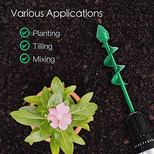 VUDECO Auger Drill Bit 2 PCS Set with Garden Genie Gloves for Planting Hole Drill Planter Auger Spiral Hole Drill Bit Bulb Bedding Digging Post Hole Planting Tool 11.8