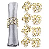 Saaqi Crystal Champagne Gold Napkin Rings for Special Occasions, Place Setting, Dining Tab...