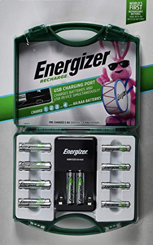 Energizer Recharge, 6 AA and 4 AA Rechargeable Batteries with 1 Charger