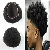 Afro Toupee Afro Curly Full Lace Men Wig Curly Swiss Mens Toupee For Black Men Replacement System 8x10 inch Human Hair Men Hairpiece