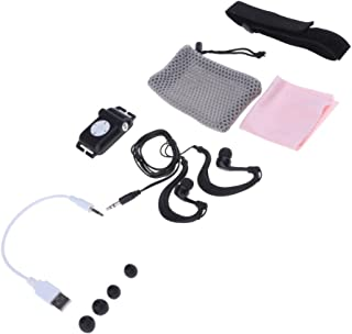 Dolity Clip 8GB Waterproof MP3 Player with Waterproof Headphone for Swimming, Running Sports - Black
