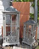 2er-Set Laterne Windlicht Holz Metall Antik grau-braun - H45/69cm