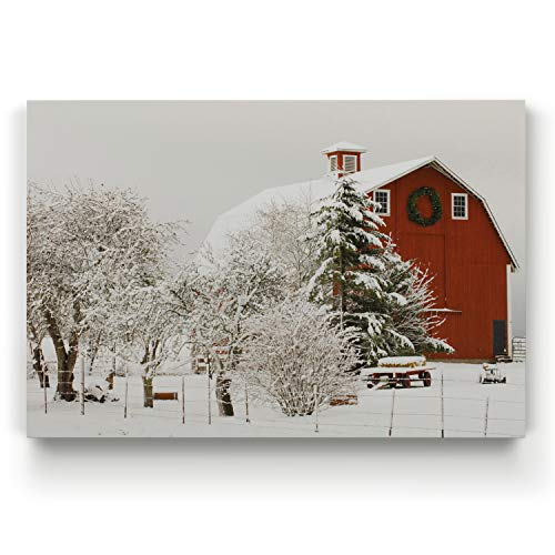 Renditions Gallery Farm V Gallery Wrapped Canvas Christmas Wall Art, 24x32
