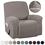 Recliner Slip Cover With Pockets 1-Pieces Chair Recliner Cover Suede Furniture Cover Spandex Stretch Slipcover for Recliner Chair Sofa Covers Anti-Slip Slipcover Highly Fitness (Recliner, Taupe)