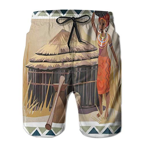 Men's Sports Beach Shorts Board Shorts,Native African Lady Carrying A Pot Traditional Ethnic Savannah Life Artful Graphic,Surfing Swimming Trunks Bathing Suits Swimwear