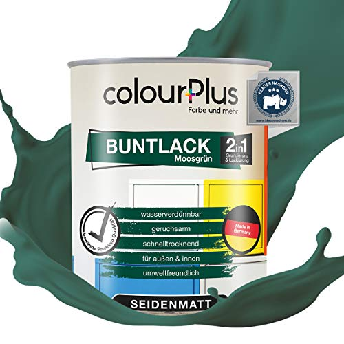 colourPlus® 2in1 Buntlack (750ml, RAL 6005 Moosgrün) seidenmatter Acryllack - Lack für Kinderspielzeug - Farbe für Holz - Holzfarbe Innen - Made in Germany