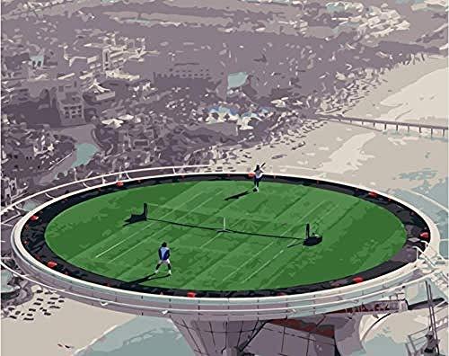 FSKJSZYH Campo da Tennis Dell'Hotel Frameless DIY Dubai sui Dipinti del Tetto dai Numeri con Le Vernici Acriliche per La Decorazione Domestica 40X50Cm