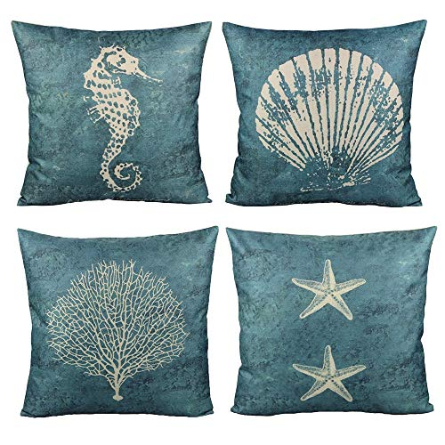 All Smiles Nautical Azul Concha Funda de Almohada al Aire Libre Mar Estilo Mediterráneo Decoración Coastal Decorativo 18 x 18 4PC Exteriores para Sofá o en Patio