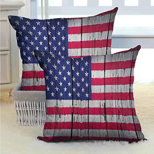 Decoración rústica Bandera estadounidense de EE. UU. Sala de estar Sofá Abrazo Funda de almohada Cuatro de julio Día de la independencia Arte grunge Madera dura envejecida Paredes de madera sin núcleo