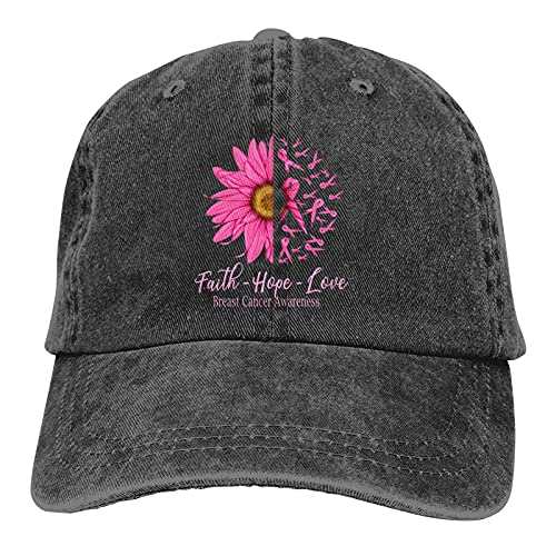 FENGBIN Faith Hope Love Sombrero de concientización sobre el cáncer de mama Sombreros para el sol Cómoda gorra de béisbol ajustable para hombres, mujeres y adultos