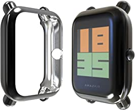 Landhoo Compatible with Amazfit Bip Case,TPU Screen Protector Rugged Cover All-Around Protective Bumper Shell Compatible (Black)